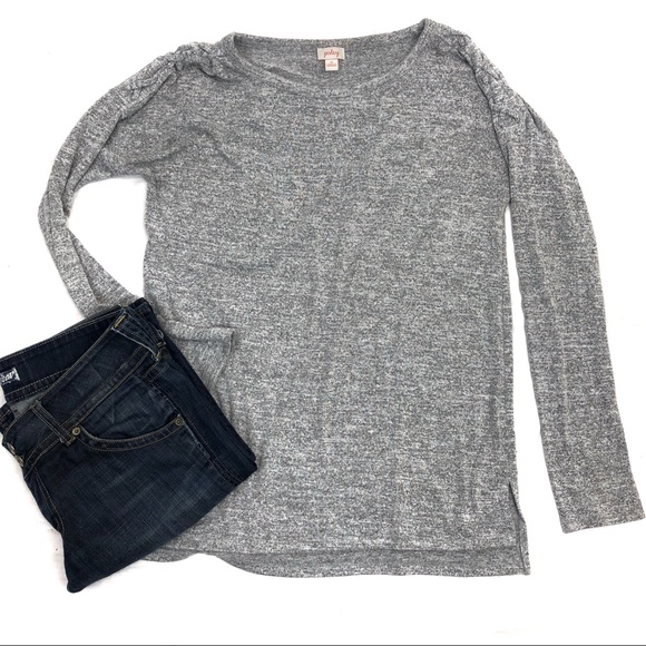 Pixley Sweaters - Pixley braided shoulder crew neck gray sweater